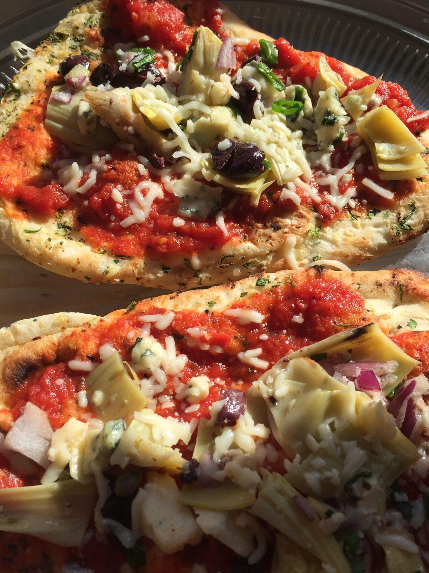 Foccacia, tomatoes, cheese, artichokes